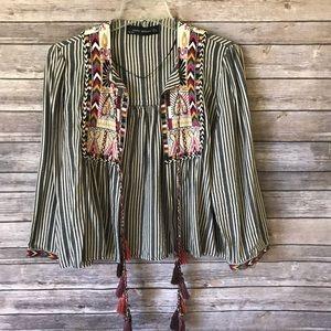 Zara | Embroidered, Tassel Jacket